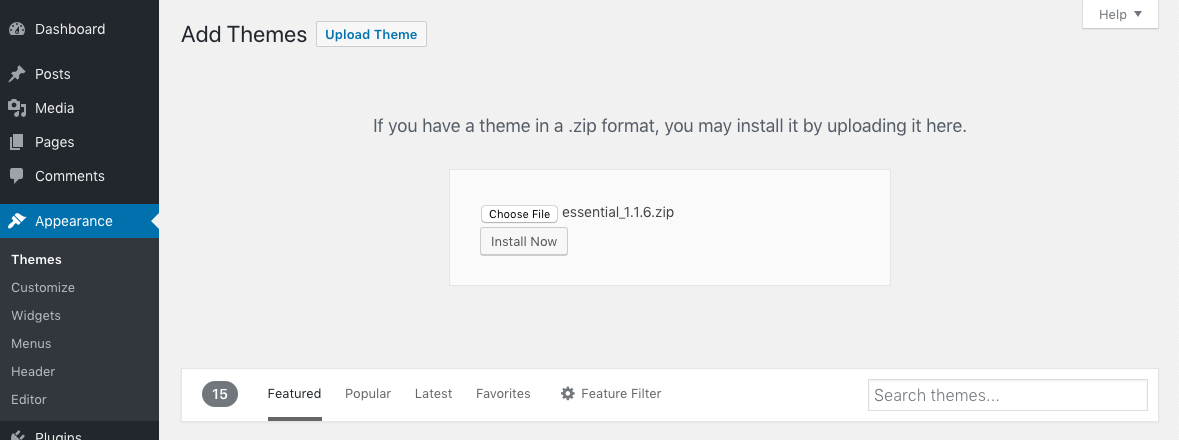 Upload Your WordPress Theme